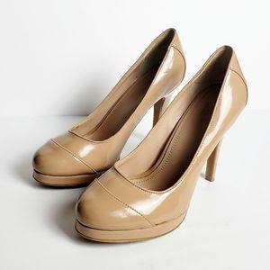 ♥️Victor Alfaro Nude Beige Stiletto Platform Heels